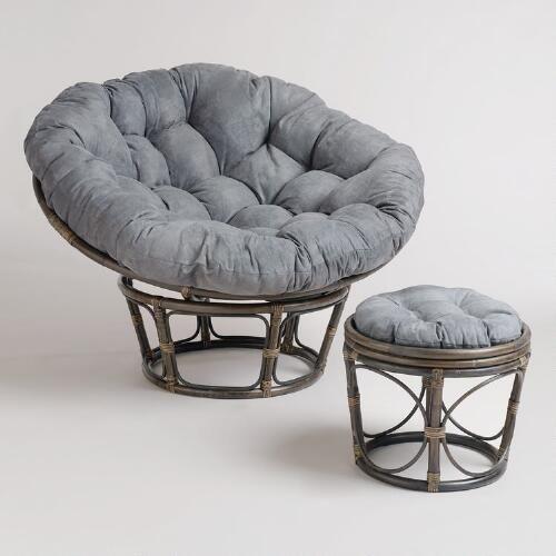 Charcoal Micro Suede Papasan Chair Cushion   World Market