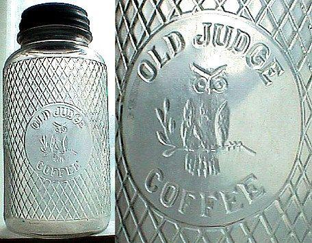 Antique OLD JUDGE Coffee jar w/ excellent by LastChanceAntiques