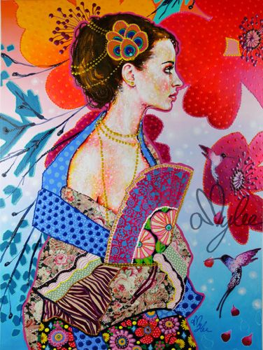 Amylee's painting - DAME A L'EVENTAIL 60X80 #art #colours #painting #portrait #flowers