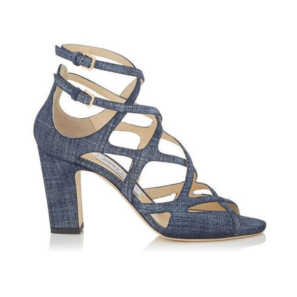 Light Indigo Denim Leather Sandals DILLAN 85 ($800) ❤ liked on Polyvore featuring shoes, sandals, indigo shoes, genuine leather shoes, summer shoes, denim shoes and real leather shoes
