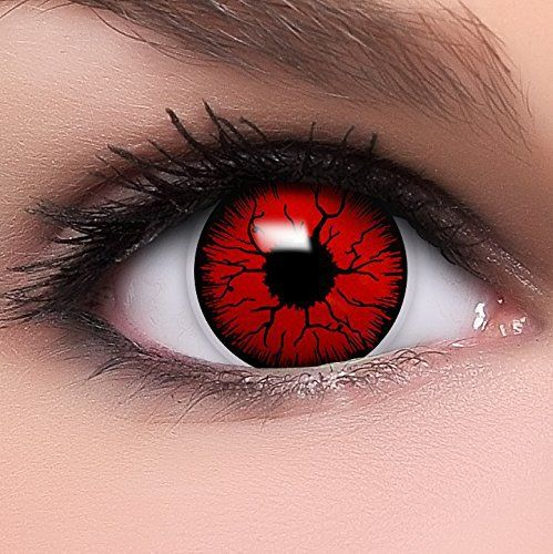 FUNZERA® Lentilles de Contact de Couleur Rouge «Diable» + 10ml Solution + Récipient Gratuit -Sans Correction- Qualité de la Marque – Une…