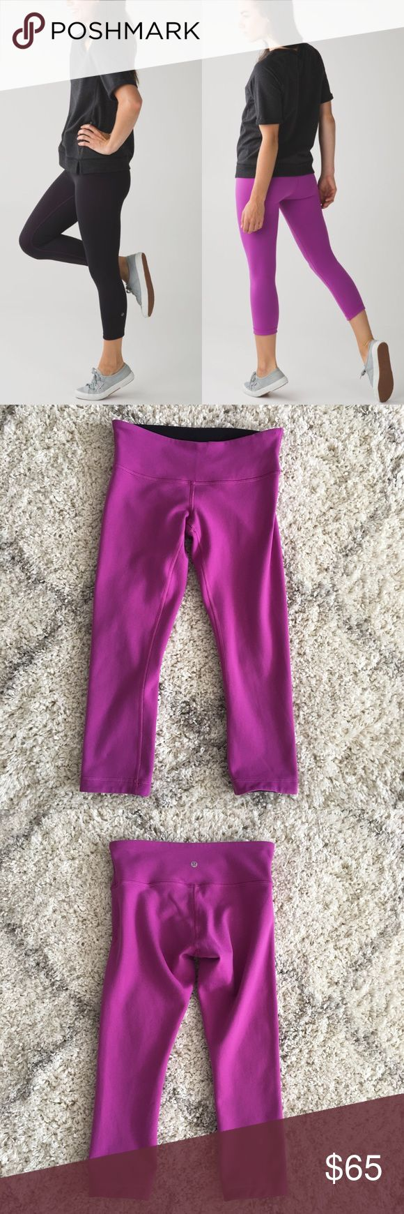 🍋 Lululemon Wunder Under Crop– Reversible Lightly worn reversible wunder under crop – colors are black and I believe ultra violet. Very small pinhole sized hole on the violet side waistband – not very noticeable (see last photo). No stains, tears, or other holes. Super minimal pilling on the black side gusset & violet waistband - rest of pants still very smooth. Overall lightly worn and washed a few times – great, pre-owned condition. Bundle & save 💰! Sorry - 🚫 trades! lululemon athletica…