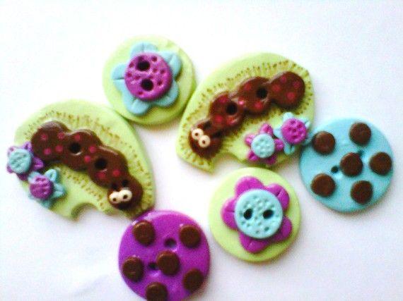 Button Fuzzy Caterpillars polymer clay button set ( 6 )