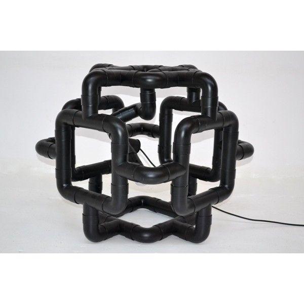 Lampada scultura produttore Missaglia - Italia anni 70 colore Nero in plastica