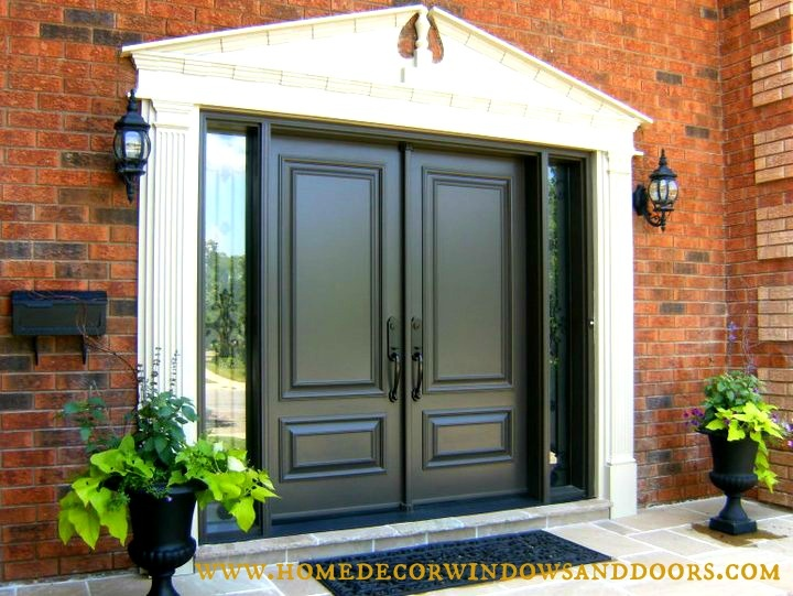 17 best images about double doors with sidelights on for Double steel entry doors