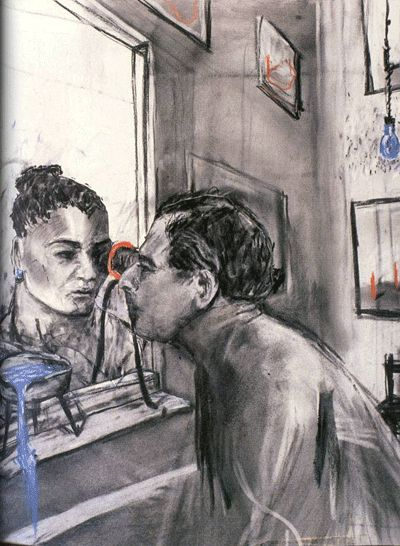 William Kentridge   drawing from 'Felix in Exile', 1994   charcoal, pastel, gouache on paper