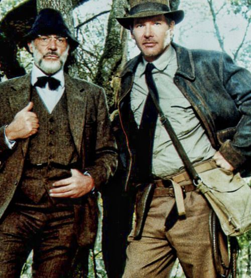 Harrison Ford as Indiana Jones and Sean Connery as Dr. Henry Jones (damn elegant, BTW)