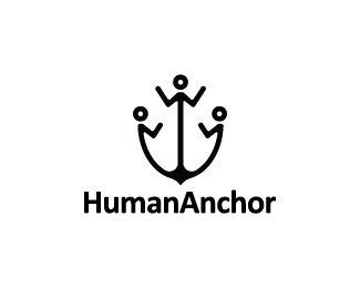 Human Anchor Logo design - Logo design of a black anchor shaped like people.  Price $299.00