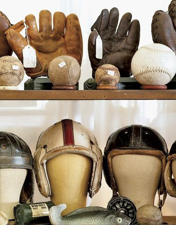 Vintage Helmets Gloves And Balls