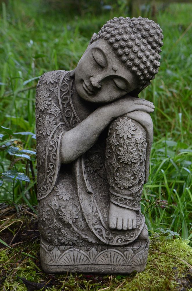 SLEEPING WELSH BUDDHA BUDDAH Stone Garden Ornament Statue ⧫onefold-uk