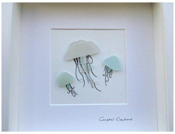 Sea Glass Art Jellyfish Jellyfish Wall Art Etsy Glass Art Painting Glassartpainting Handmade Co Sea Glass Art Projects Sea Glass Art Diy Sea Glass Crafts