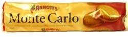 First made in 1926 and taking its name from the famous European city. The Monte Carlo combines two honey and coconut biscuits sandwiching a rich raspberry flavoured cream filling.     These are one of Arnott's most famous cream biscuits.