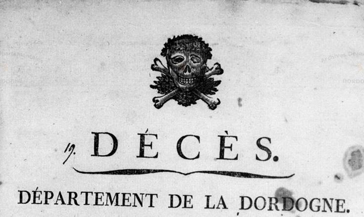 Les registres de décès révolutionnaires en Dordogne étaient illustrés d'une façon un peu morbide… | Le Nuage.