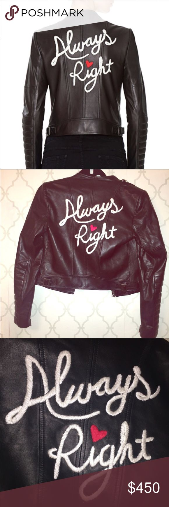 "Alice + Olivia Always Right Black Leather Jacket Alice + Olivia ""Always Right"" Black Leather Jacket 
