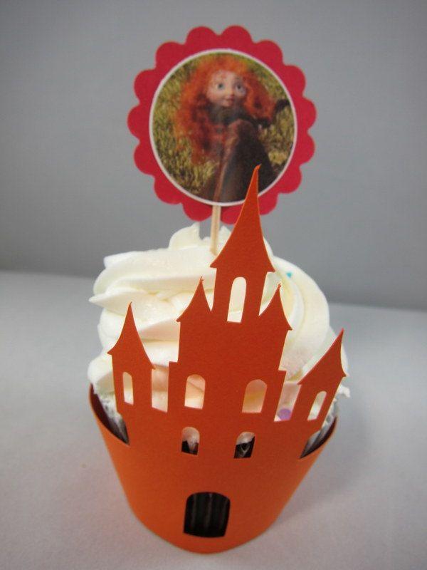 Set of 10 Castle Cupcake Wrappers Laser Castle Cupcake Wrapper
