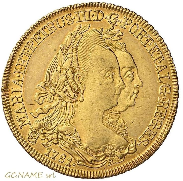 Brazil: Maria I & Pedro III, gold 6400 Reis, 1780-R. Oro Or #435