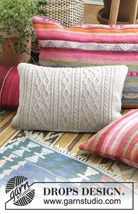 Morgan's Daughter Pillow / DROPS 183-34 - Pillow with cables. Piece is knitted in DROPS Flora.