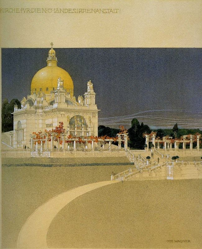 Elegant Otto Wagner us architectural sketch for the Art Nouveau Church of St Leopold