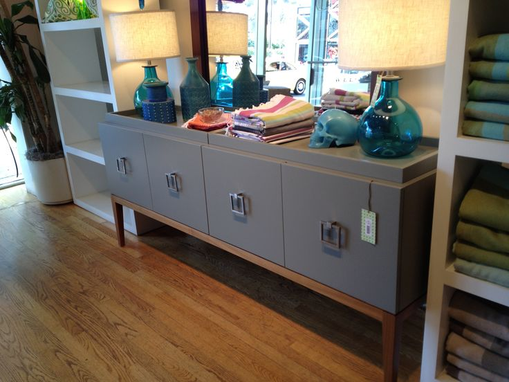 Great idea to steal! The gray paint & sophisticated pulls would be a great way to update a Goodwill vintage find! (Sideboard from Weego Home in Santa Monica ca)