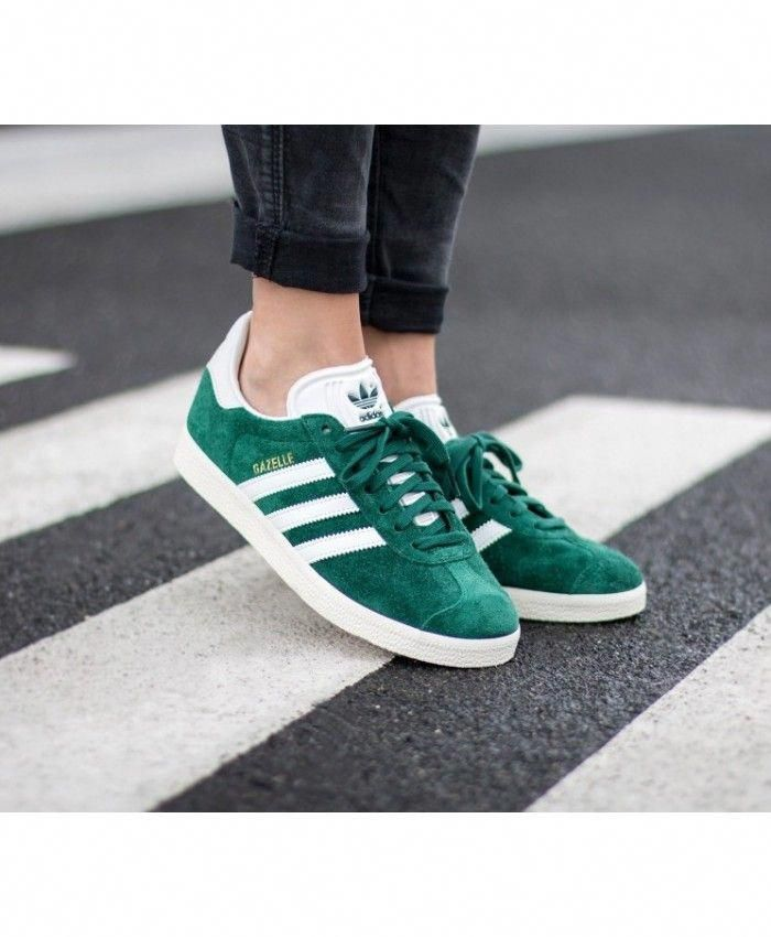 free shipping bc290 25acd Adidas Gazelle Womens Trainers In Green White Gold WomensJacketsClassy
