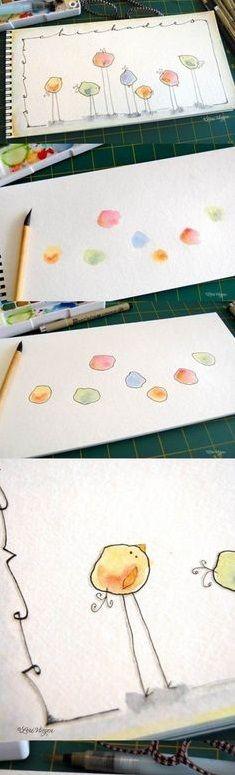 Adorable Easter Craft. Thumb Print Chick Art.