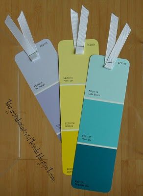 I love the (cheap) idea of making (beautiful) bookmarks out of these! (love the colors too!)