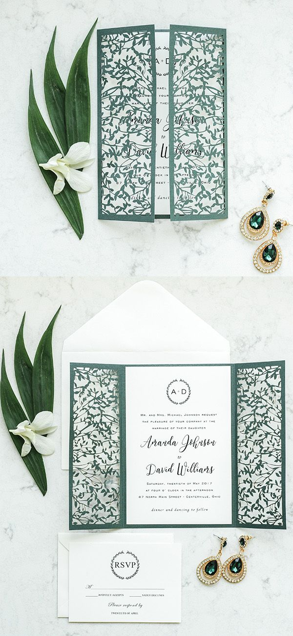 paper cut wedding invitations uk%0A delicate outdoor emerald leaves mesh laser cut wedding invitation EWWS
