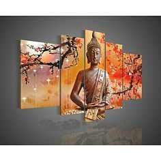 Hand-Painted Wall Art Religion Buddha Oil Painting on Canvas Green 5pcs/set No Frame 2016 - $59.99