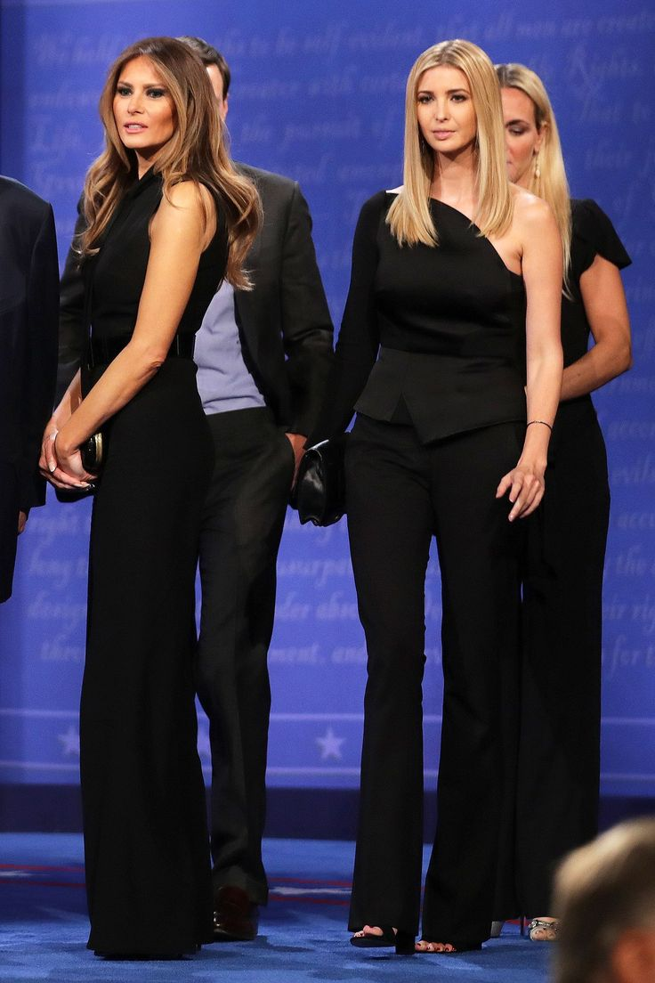 The third presidential debate may have been a political event, but Melania and Ivanka Trump ensured that it wasn't without some serious style.  While Hillary Clinton opted for an all-white ensemble Wednesday night, both Trump women went for black during the last debate in Las Vegas.  Ivanka wore a one-shoulder