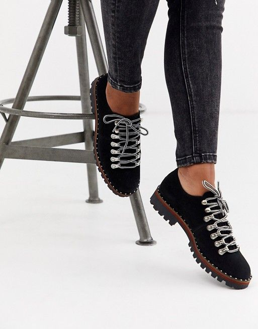 ASOS DESIGN Midnight hiker flat shoes in black | A…