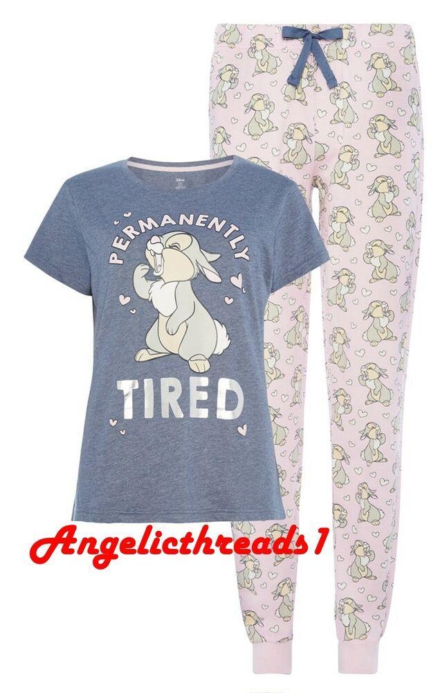 Ladies DISNEY MICKEY MOUSE Long Sleeved T Shirt Pyjamas PJ SET Primark UK 6-20