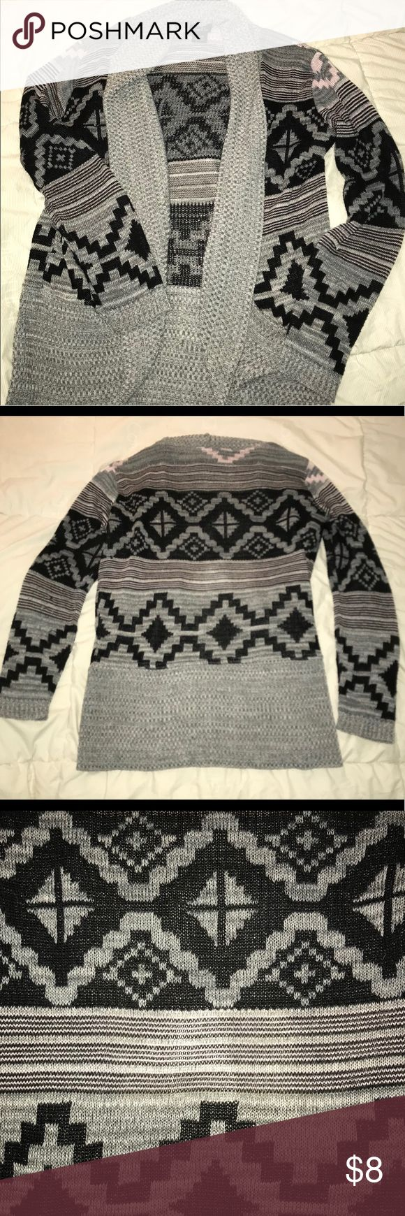 Tribal Print Cardigan Rue 21 Gray, black, and white tribal print cardigan, with hints of pink between design lines. Purchased from Rue 21. Size medium. Good condition! Rue 21 Sweaters Cardigans