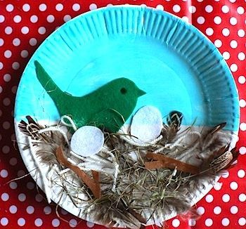 "bird nest collage- I like how this just uses the paper plate as a background and doesn't get too ""crafty"""