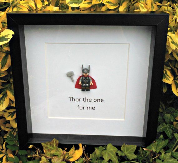Thor Minifigure Frame Nerdy Office Decor Gift by DanMakesWithLove