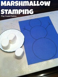 Marshmallow Stamping! Fun winter kids activities for toddler, preschool and kindergarten kids to do alongside a snowman unit.