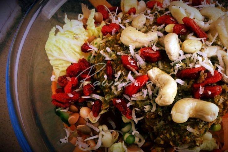THAJSKÝ GOJI ŠALÁT (čínska kapusta, uhorka, mrkva, rajčina,  naklíč. šošovica, naklíč. mungo, namoč. goji, namoč. kešu, kokos; cesnak, kari, koriander, ml. paprika, jarná cibuľka, zázvor, aioli, kurkuma, sezam. olej, citr. šťava)