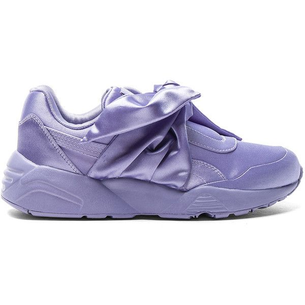 Fenty by Puma Bow Satin Sneakers ($160) ❤ liked on Polyvore featuring shoes, sneakers, puma trainers, satin shoes, rubber sole shoes, bow shoes and puma footwear