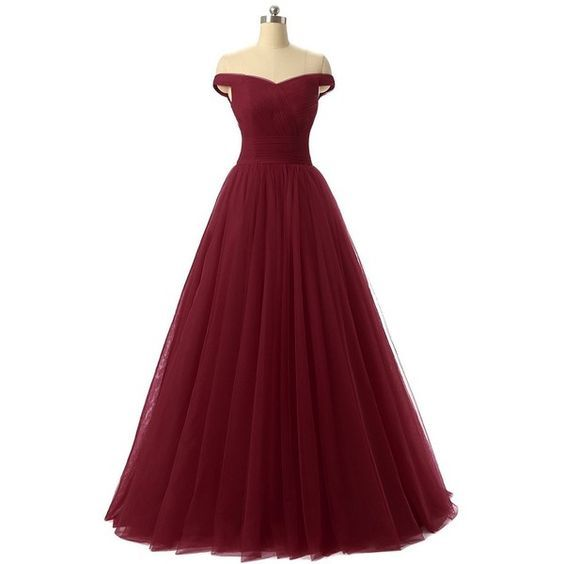 Charming Burgundy Maroon Tulle Ball Gown Prom Dress 2017,#promdress, #dresses, #offshoulderdress