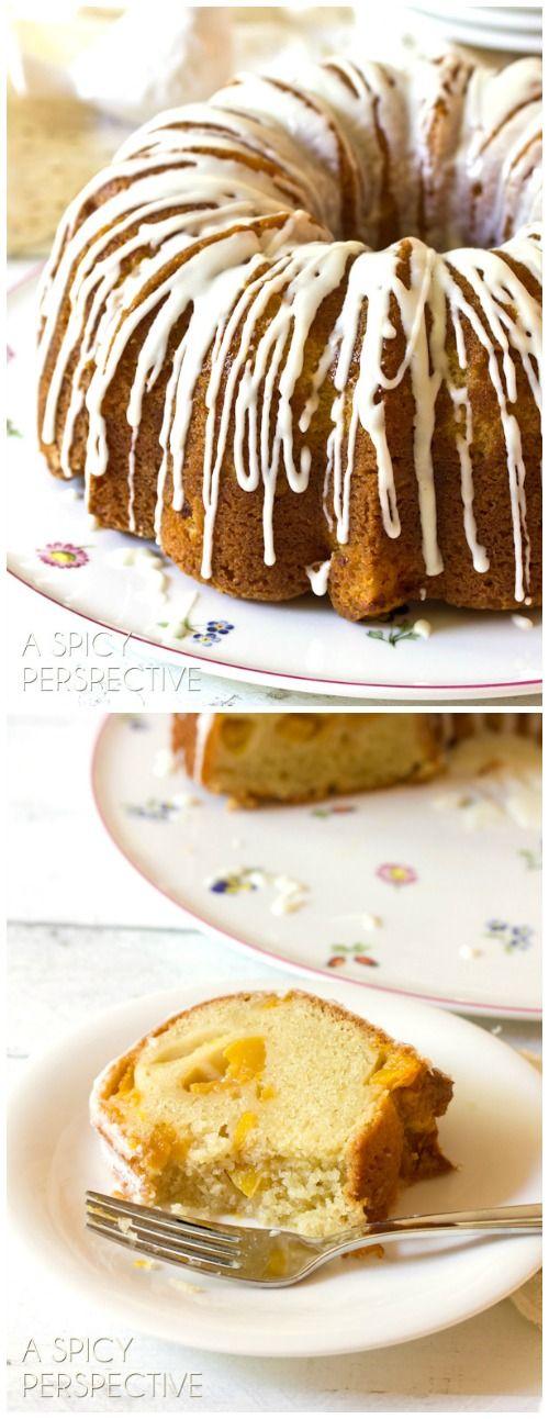 (Peach Cake) Peaches n' Cream Cake on ASpicyPerspective.com