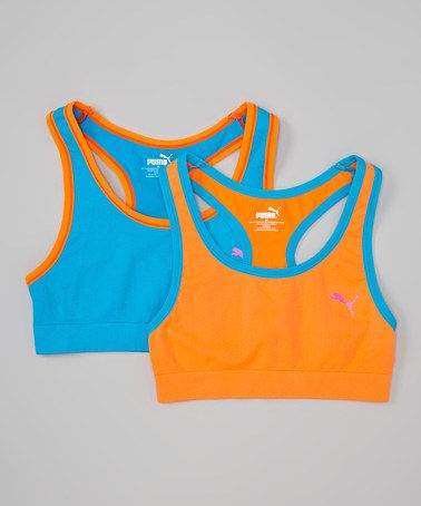 This Blue & Orange Sports Bra Set - Girls is perfect! #zulilyfinds