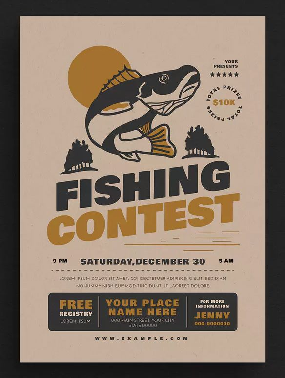 Fishing Contest Event Flyer Template AI, PSD - CMYK 300 DPI - A4