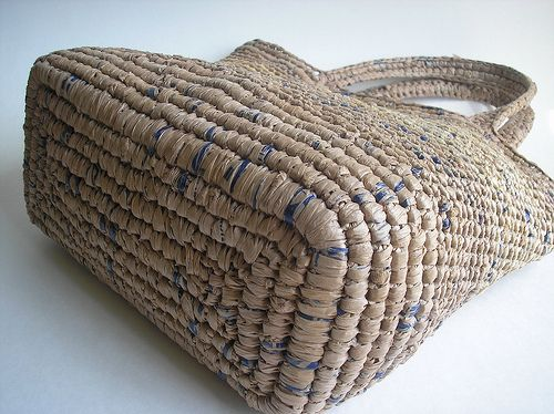 Plarn crochet bag. Plarn = plastic yarn (cut-up plastic grocery bags...way to recycle!)