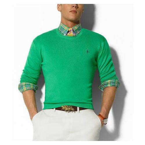 Ralph Lauren Round Neck Green Sweaters Mesh Men Dropshipping For Travel