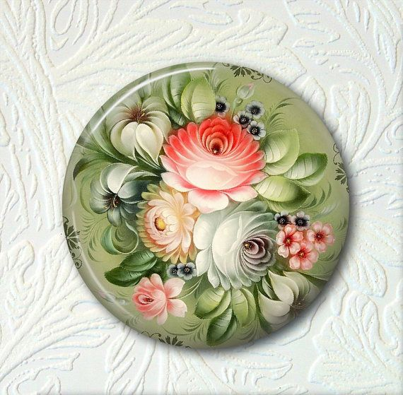 Pocket Mirror Russian Folk Art by SunnysWoodnGifts on Etsy, $5.50