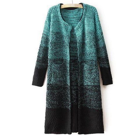 Fashionable Ombre Long Edition Long Sleeve Women's Cardigan