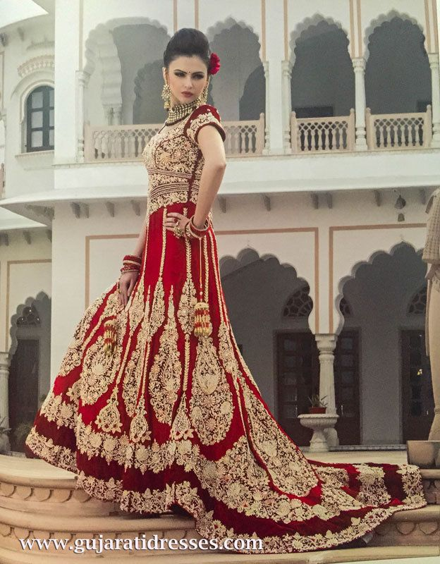 Red Bridal Lehenga Gown With Train