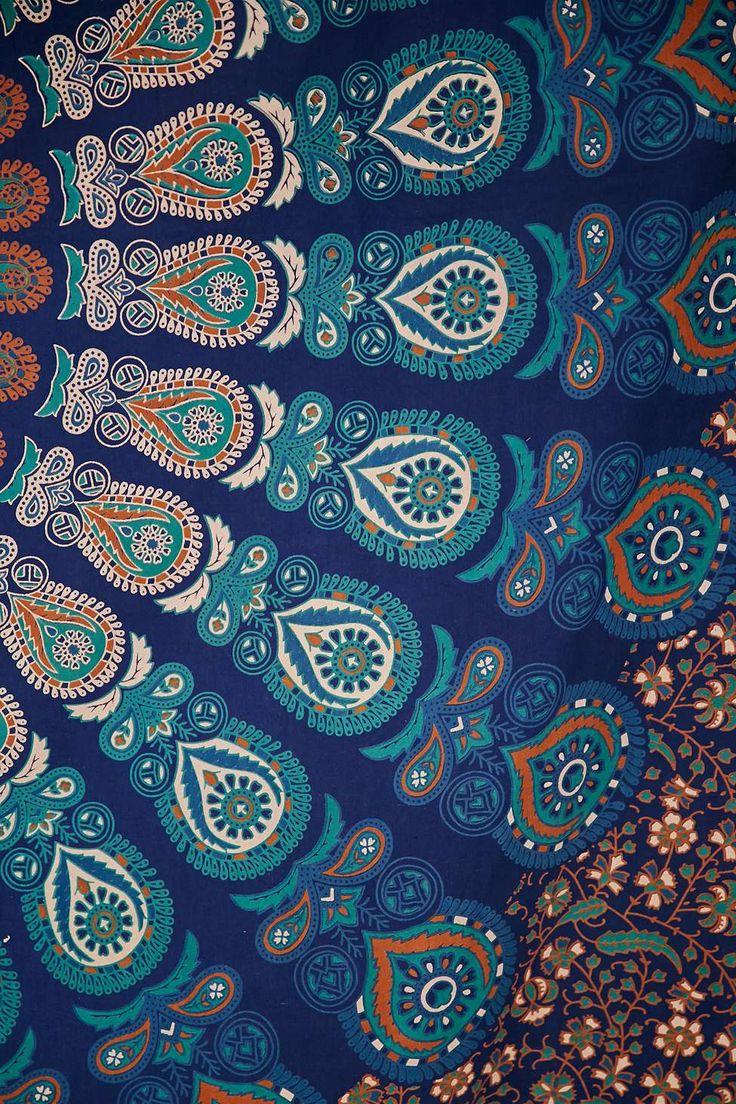 Wandteppich in Türkis mit Paisley-Print und Medaillon-Design
