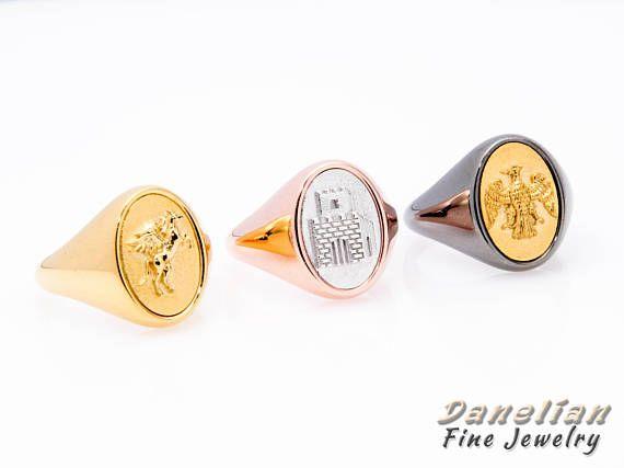 Man Solid Gold Ring 14k Gold Signet Solid Gold Signet