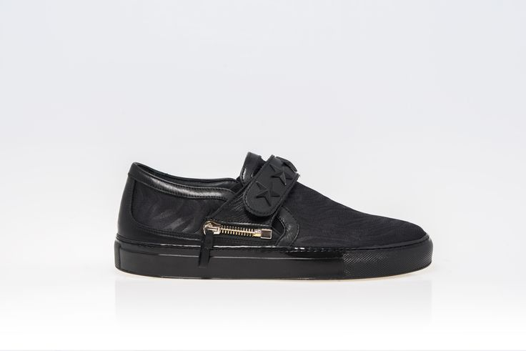 total black slip on d-side sneakers with changeable strap