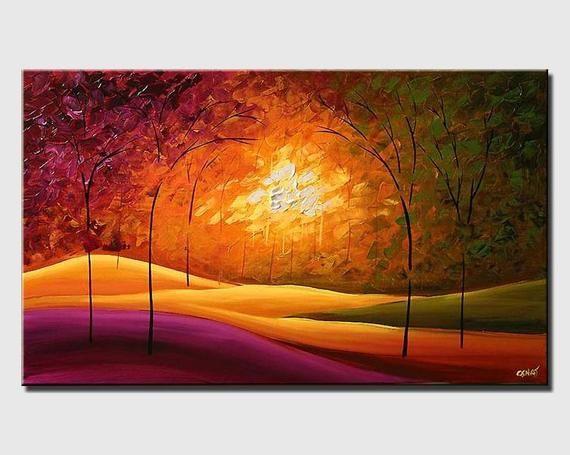 Modern Landscape Painting Acrylic On Canvas By Osnat Made To Order Pintura Paisajistica Paisajismo Moderno Paisaje Abstracto